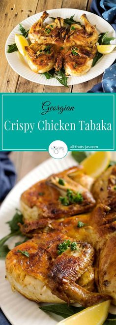 Chicken tabaka is a Georgian national dish of a pan-fried whole chicken that is cooked quickly to sear and crisp the skin but ensures the meat is tender and juicy inside.   allthatsjas.com   dinner #chicken #glutenfree #georgian #tabaka #chickenunderabrick #panfried #crispy #recipeoftheweek #recipes #homemade #cooking #poultry #easyrecipe #roastedchicken
