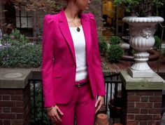 zara magenta suit cropped pants shoulder detail cobalt suede ankle strap heels pumps embellished black and blue white knit jones new york top shirt sleeveless pink fuchsia monochrome alex and ani bangles gorjana gold ring ruby kats necklace fountain new york architecture pre-war