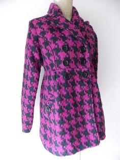 Candies Jacket Size Medium Houndstooth Wool Blend Winter Coat Purple #Candies #BasicCoat