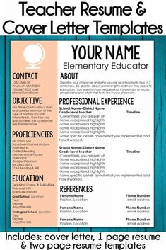 My Teacher Resume & Cover Letter Templates are perfect for elementary school teachers, SLP's, and instructional coaches. With the globe accent, this is the perfect resume template for social studies…More Resume Cover Letter Template, Teacher Resume Template, Resume Template Free, Letter Templates, Free Resume, Elementary Teacher Resume, Preschool Teacher Resume, Teacher Interviews, Teacher Interview Outfit