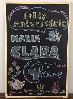 Chalkboard Aniversário Infantil Tema Dory Lousa Arte em Giz