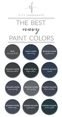 City Farmhouse - The Best Navy Paint Colors Hale navy and club navy Navy Paint Colors, Exterior Paint Colors, Exterior House Colors, Paint Colors For Home, Wall Colors, Blue Grey Paint Color, Blue Room Paint, Exterior Shutter Colors, Best Bedroom Paint Colors
