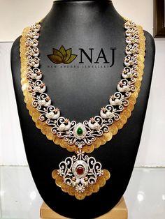 Peacock Haaram - Traditionally designed Kaasu Haaram with peacocks studded with diamonds and rubies. For details WhatsApp @ 9032041323 or email to mynaj@najindia.com....ONLY @ NAJ 13 April 2018