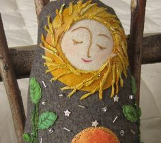 """Brigid the Sun Goddess. Needle lacing, appliqué, beading, embroidery. Recycled wool and hand dyed """"new"""" wool. art4sol/Etsy"""