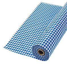 "100' X 40"" OktoberFest Blue & White Argyle Tablecloth Roll Covers 16 Tables"