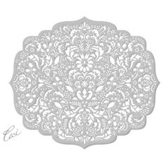 Ceci New York - Vivre Collection Lasercut Place Mats Silver Damask