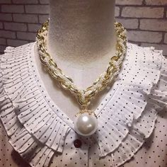 White Drop Pearl Locket with Golden Chain