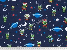 Michas Stoffecke - Stretchjersey Aliens In Space dunkelblau S-VH4372-001