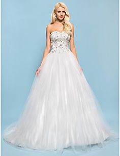 Lanting Bride Ball Gown Petite / Plus Sizes Wedding Dress-Chapel Train Sweetheart Satin / Tulle