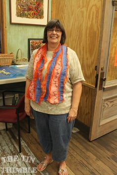 Another happy Tin Thimble student with her darling nuno felted scarf! - The Tin Thimble