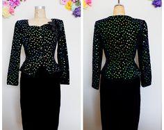 Black velvet vintage LIillie Rubin 2 piece suit blazer skirt green iridescent sequins NEIMAN MARCUS business suit