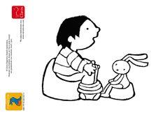 Anna wil dat Konijn op het potje gaat. Een kleurplaat van het boek Op je potje, Konijn! http://clavisbooks.com/book/op-je-potje-konijn