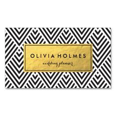 Black and Gold Chevron Pattern Business Card. This is a fully customizable business card and available on several paper types for your needs. You can upload your own image or use the image as is. Just click this template to get started!