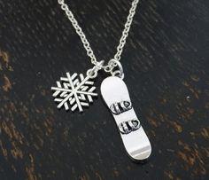 Snowboard Necklace Snowboard Charm Snowboard Pendant by TrueGlows