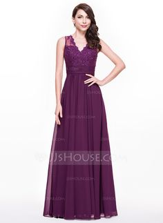 A-Line/Princess V-neck Floor-Length Chiffon Lace Evening Dress With Ruffle Beading Sequins (017065552)