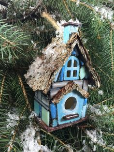 Christmas Ornament Birdhouse Gift Michelle Dornstreich by BirdhousesByMichelle on Etsy