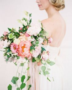 Wedding Bouquets : Peony, ranunculus, and rose wedding bouquet: Photography: Kayla Barker Fine Art . Church Wedding Flowers, Rose Wedding Bouquet, Floral Wedding, Branches Wedding, Wedding Trends, Wedding Designs, Wedding Bride, Wedding Day, Wedding Venues
