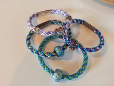 Kumihimo Bracelet made with metallic and satin floss and magnetic closure on Etsy, $25.00