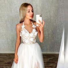 Fashion v neck halter white tulle long prom dresses wedding party dresses UH437