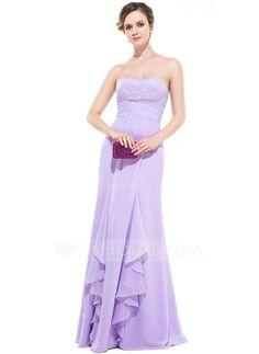 Empire Sweetheart Floor-Length Chiffon Evening Dress With Beading Sequins Cascading Ruffles (017047380)