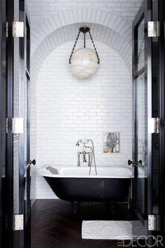 ♥ HOUSE TOUR: Coldplay's Jonny Buckland at Home - Stunning black & white bathroom - cast iron bath tub - wooden floor - spherical lamp Bad Inspiration, Bathroom Inspiration, Interior Inspiration, Bathroom Ideas, Dream Bathrooms, Beautiful Bathrooms, Glamorous Bathroom, White Bathroom, Bathroom Interior