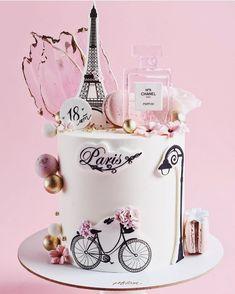 Paris Birthday Cakes, Paris Themed Cakes, Elegant Birthday Cakes, Paris Cakes, Cute Birthday Cakes, Beautiful Birthday Cakes, Birthday Cakes For Women, Bolo Paris, Travel Cake