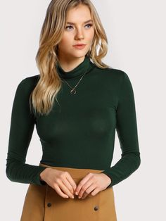 Shop Turtleneck Slim Fit T-shirt online. SheIn offers Turtleneck Slim Fit T-shirt & more to fit your fashionable needs. Green Turtleneck, Turtleneck Outfit, Latest T Shirt, Dressed To The Nines, Fall Shirts, Casual T Shirts, Turtle Neck, Long Sleeve, Sleeves