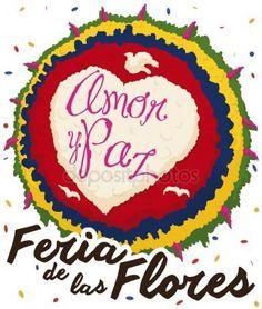 Silleta colombiana y lluvia de confeti para el Festival de las flores, ilustración vectorial Vectores De Stock Sin Royalties Gratis