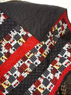 """Mickey Mouse Crib Quilt """" Reserved for Lindsey"""" by NeNesQuilts on Etsy"""