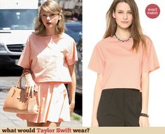 Taylor Swift's peach cropped tee. Outfit Details: http://wwtaylorw.com/3140
