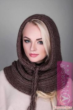 Девочки! Захотела племяшка такой снуд. А как вязать? Может кто-то встречался с таким? Спасибо всем! Нашла зад - это капор-шапка ДОПОЛНЯЮ: Easy Scarf Knitting Patterns, Crochet Scarf Easy, Diy Crochet And Knitting, Crochet Scarves, Crochet Shawl, Crochet Hooded Cowl, Snood Scarf, Hooded Scarf, Mode Hijab