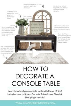 Struggling with styling your console table? Want it to be beautiful, welcoming and be an expression of you? Check out these 10 no-fail tips on How to Style a Console Table in 2019. Free Console Table Styling Cheat Sheet and Shopping Checklist included. Dining Room Console, Console Table Styling, Decorate Console Tables, Table Accessories, Entryway Decor, Hallway Table Decor, Entryway Ideas, Decorating Tips, Hallway Decorating