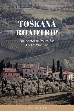 Sanfte Hügellandschaften, Zypressenalleen und dazwischen malerische Bergdörfer. Auch ein Abstecher darf auf diesem Toskana Roadtrip nicht fehlen. #roadtrip #italien #urlaub2021 #italienurlaub #toskanaroadtrip