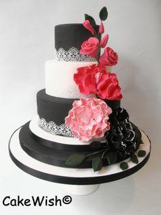 Black, white & pink flowers