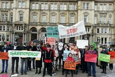 Zombies making their eye-catching protest in Leeds today
