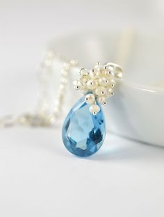 Wedgwood Blue Bridal Necklace in Sterling Silver, Something Blue Wedding Jewelry $98.00 Blue Room Gems Bridal  (http://blueroomgemsbridal.com/kathleen-necklace-wedgwood-blue-bridal-necklace-in-sterling-silver/)