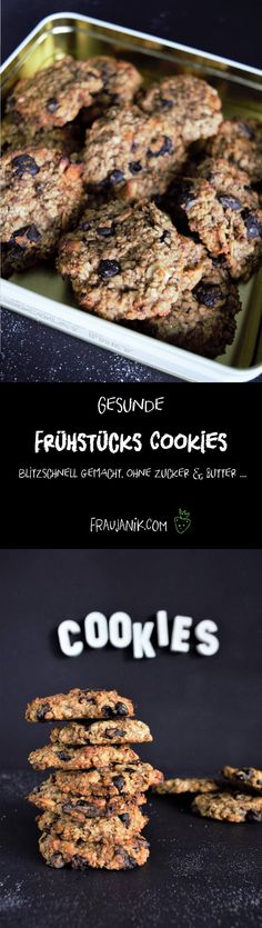 healthy breakfast cookies from 4 ingredients - Lecker Vegan frühstücken - Dessert Classic Peanut Butter Cookies, Peanut Butter No Bake, Peanut Butter Cookie Recipe, Easy Cookie Recipes, Easy Desserts, Quick Recipes, Breakfast Cookies, Breakfast Recipes, Paleo Dessert