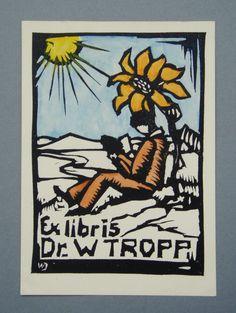 Ex libris by Wilhelm Johannsen for Dr. W. Tropp
