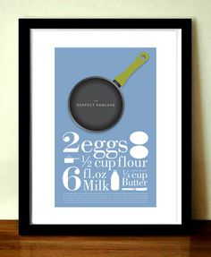 Mid century modern style print, The Perfect Pancake recipe, 11.7 x 16.5 (A3) giclée print