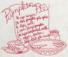 Pumpkin Pie Recipe (Redwork) design (H7937) from www.Emblibrary.com