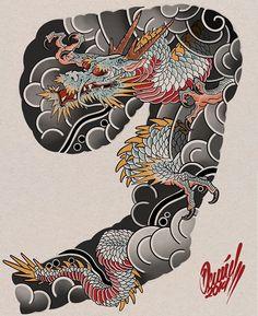 Dragon Tattoo Oriental, Dragon Tattoo Arm, Dragon Sleeve Tattoos, Japanese Dragon Tattoos, Japanese Tattoo Art, Japanese Tattoo Designs, Japanese Sleeve Tattoos, Dragon Tattoo Designs, Tattoo Sleeve Designs