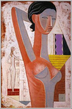 Mario Tozzi 1972: Figura e Nudo. Olio su Tela cm.(73x50) - Collezione Privata Imperia - Archivio n.271 - Catalog n.72/14.