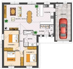 plan single storey house 3 bedrooms garage - House Plans, Home Plan Designs, Floor Plans and Blueprints The Plan, How To Plan, House Plans 3 Bedroom, Garage House Plans, New House Construction, L Shaped House Plans, Single Storey House Plans, Smart Home Design, House Plans With Photos