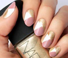 nail art facile ongles courts- lignes et couleurs élégantes