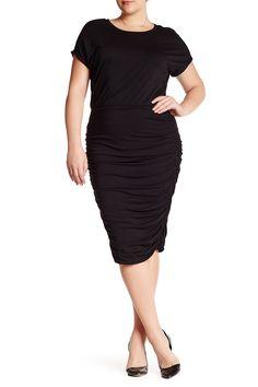 Short Sleeve Rouched Dress (Plus Size)