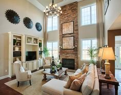 Awesome Ellsworth Country Living Room – Monroe Chase, NJ The post Ellsworth Country Living Room – Monroe Chase, NJ… appeared first on Designs 2018 . High Ceiling Living Room, My Living Room, Home And Living, Living Room Decor, Family Room Decorating, Family Room Design, Family Rooms, Kitchen Room Design, Living Room Arrangements