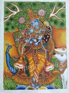 Mysore Painting, Kerala Mural Painting, Krishna Painting, Indian Art Paintings, Madhubani Painting, Kalamkari Painting, Small Paintings, Ganesha Art, Krishna Art