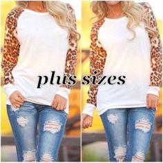 PLUS size long sleeve tops Plus size Ivory tops with animal print sleeves. Please do not purchase this listing. Comment with size and I will create a new listing for you. Sizes XL, 2XL, 3XL. Price is firm unless bundled. Tops
