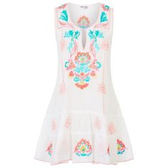 Juliet Dunn Sleeveless Mexican Embroidered Tunic Dress ($250) ❤ liked on Polyvore featuring dresses, no sleeve dress, sleeveless dress, embroidered dress, summer dresses and sleeveless cotton dress