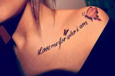 butterfly with quotes tattoo - 35 Cute Clavicle Tattoos for Women